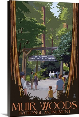 Muir Woods National Monument, California - Entrance: Retro Travel Poster