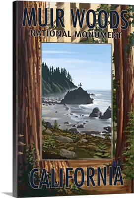 Muir Woods National Monument, California - Trees and Ocean: Retro Travel Poster