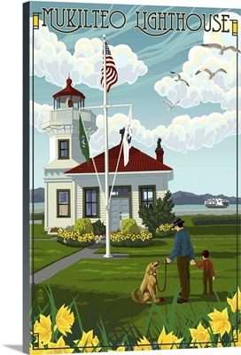 Mukilteo Lighthouse - Mukilteo, Washington: Retro Travel Poster