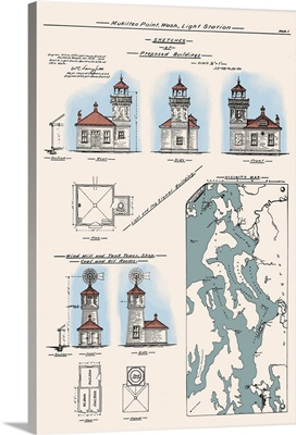 Mukilteo Lighthouse Technical Drawing - Mukilteo, Washington: Retro Travel Poster