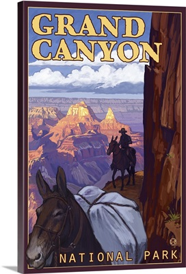 Mule Train - Grand Canyon National Park: Retro Travel Poster