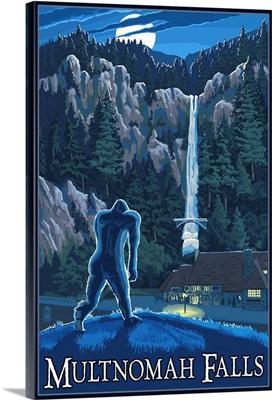 Multnomah Falls, Oregon - Bigfoot: Retro Travel Poster