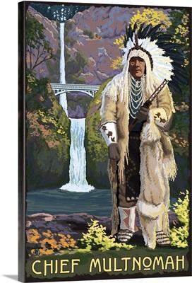 Multnomah Falls, Oregon - Chief Multnomah: Retro Travel Poster