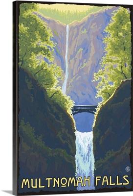 Multnomah Falls, Oregon: Retro Travel Poster