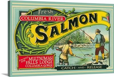 Multnomah Falls, Oregon - Salmon Label: Retro Travel Poster