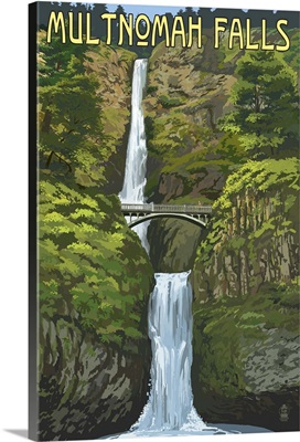Multnomah Falls, Oregon - Summer View: Retro Travel Poster