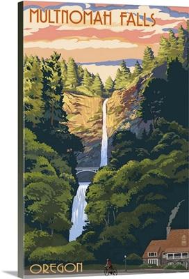 Multnomah Falls, Oregon - Sunset: Retro Travel Poster