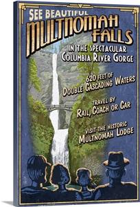 Multnomah Falls Oregon Vintage Sign Retro Travel