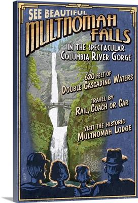 Multnomah Falls, Oregon - Vintage Sign: Retro Travel Poster