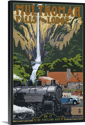 Multnomah Falls - Train and Cars: Retro Travel Poster