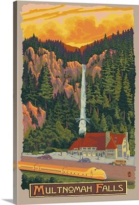 Multnomah Falls View with Train: Retro Travel Poster