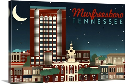 Murfreesboro, Tennessee, Retro Style Skyline