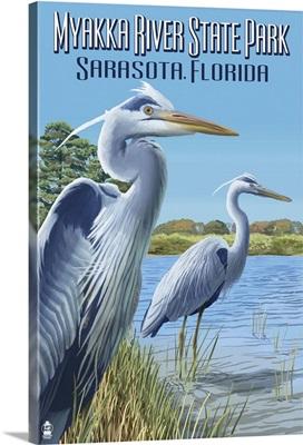 Myakka River State Park Sarasota, Florida - Blue Heron: Retro Travel Poster