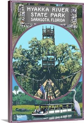 Myakka River State Park Sarasota, Florida - Montage: Retro Travel Poster