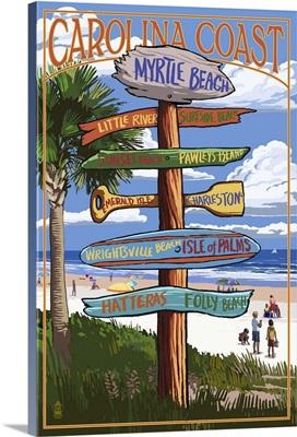 Myrtle Beach, SC - Destination Signs: Retro Travel Poster