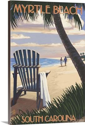 Myrtle Beach, South Carolina - Adirondack and Palms: Retro Travel Poster