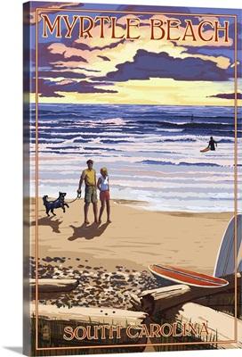 Myrtle Beach, South Carolina - Beach Walk and Surfers: Retro Travel Poster