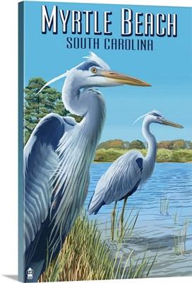 Myrtle Beach, South Carolina - Blue Herons: Retro Travel Poster