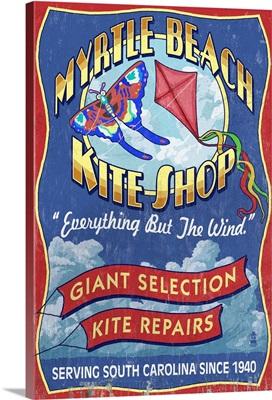Myrtle Beach, South Carolina - Kite Shop Vintage Sign: Retro Travel Poster