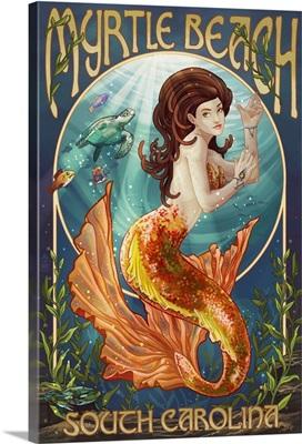 Myrtle Beach, South Carolina - Mermaid: Retro Travel Poster