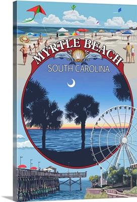 Myrtle Beach, South Carolina - Montage: Retro Travel Poster