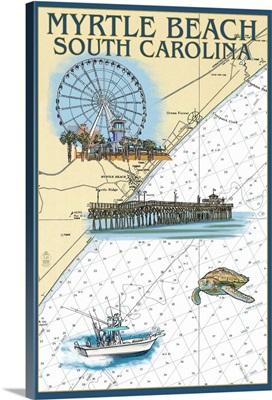 Myrtle Beach, South Carolina - Nautical Chart: Retro Travel Poster