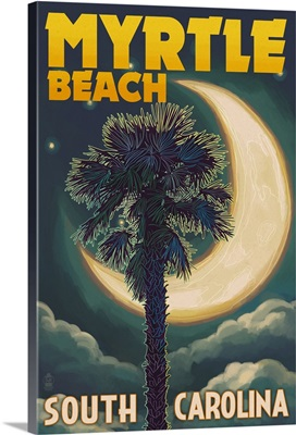 Myrtle Beach, South Carolina - Palmetto Moon and Palm: Retro Travel Poster