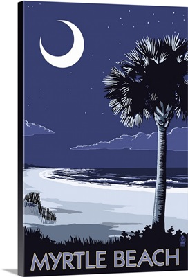 Myrtle Beach, South Carolina - Palmetto Moon: Retro Travel Poster