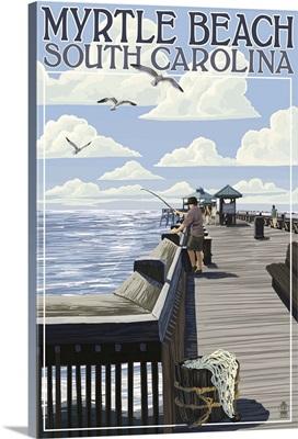 Myrtle Beach, South Carolina - Pier Scene: Retro Travel Poster