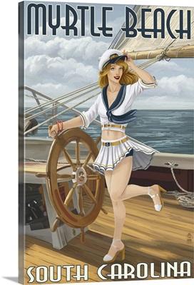 Myrtle Beach, South Carolina - Pinup Girl Sailor: Retro Travel Poster