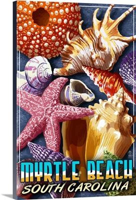 Myrtle Beach, South Carolina - Shell Montage: Retro Travel Poster
