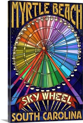 Myrtle Beach, South Carolina - SkyWheel: Retro Travel Poster
