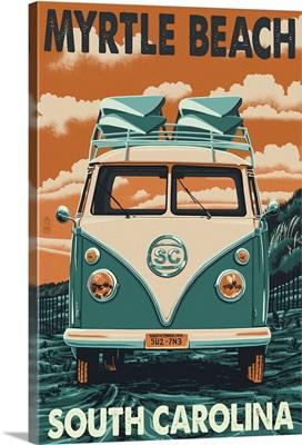 Myrtle Beach, South Carolina - VW Van Letterpress: Retro Travel Poster