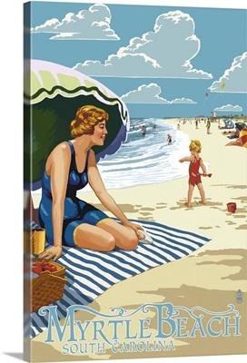 Myrtle Beach, South Carolina - Woman on Beach: Retro Travel Poster