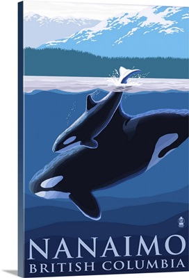 Nanaimo, BC, Orca and Calf: Retro Travel Poster
