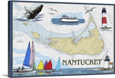 Nantucket, MA Nautical Chart: Retro Travel Poster