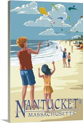Nantucket, Massachusetts - Kite Flyers: Retro Travel Poster