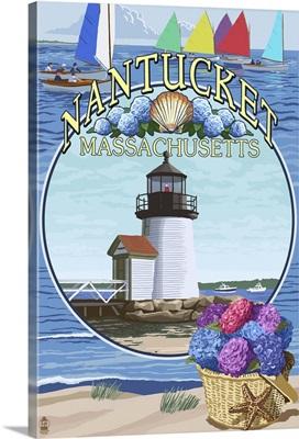 Nantucket, Massachusetts Montage: Retro Travel Poster