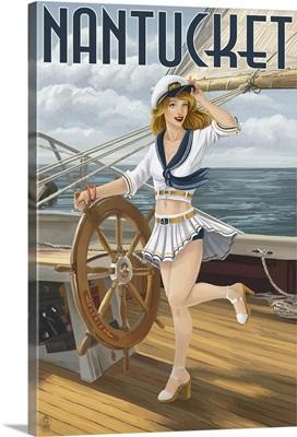 Nantucket, Massachusetts - Pinup Girl Sailing: Retro Travel Poster