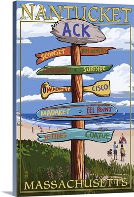 Nantucket, Massachusetts - Sign Destinations: Retro Travel Poster