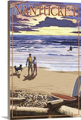 Nantucket, Massachusetts - Sunset Beach Scene: Retro Travel Poster