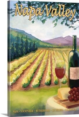 Napa Valley Wine Country: Retro Travel Poster