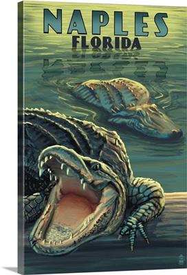 Naples, Florida - Alligators: Retro Travel Poster