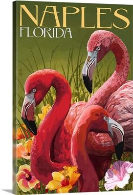 Naples, Florida - Flamingos: Retro Travel Poster