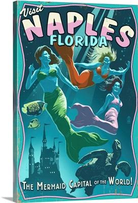 Naples, Florida - Live Mermaids: Retro Travel Poster