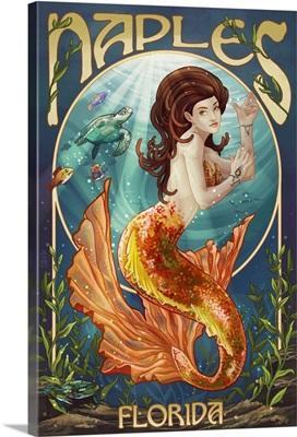 Naples, Florida - Mermaid: Retro Travel Poster