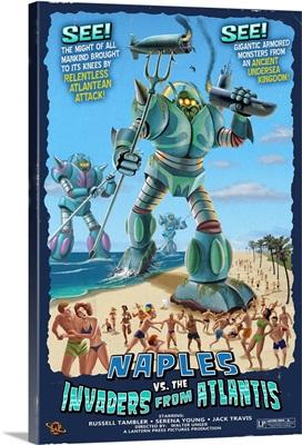 Naples, Florida - Naples vs. Atlantean Invaders: Retro Travel Poster