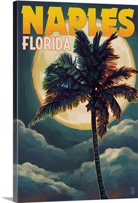 Naples, Florida - Palm and Moon: Retro Travel Poster