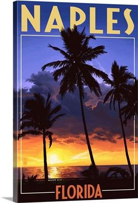 Naples, Florida - Palms and Sunset: Retro Travel Poster