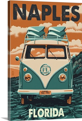 Naples, Florida - VW Van Letterpress: Retro Travel Poster